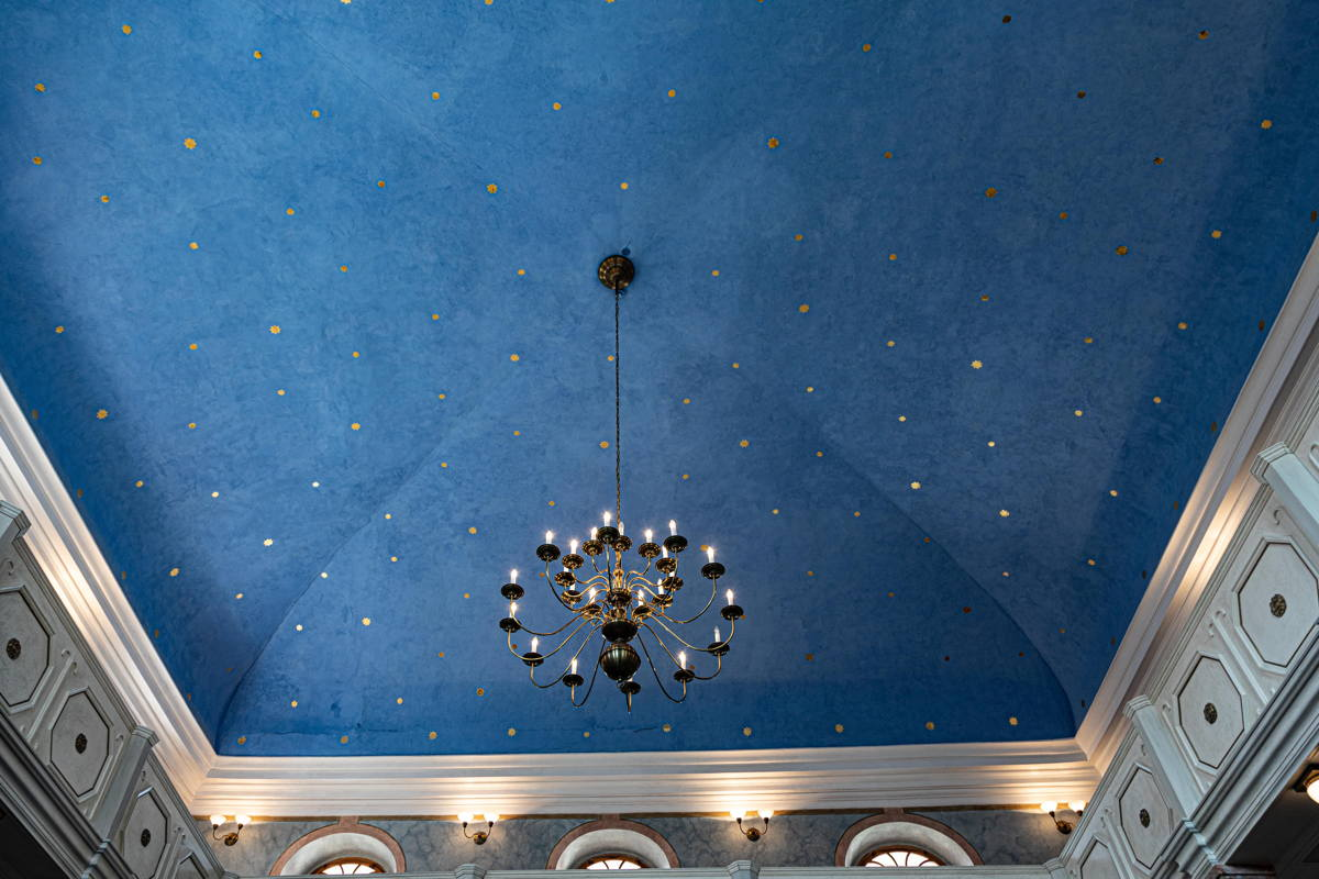 ceiling decoration, gold stars on blue is popular motif